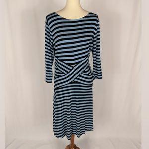 ECI Black Blue Chambrey Striped Long Sleeve Dress